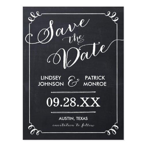 Chalkboard Script Modern Typography Save the Date Postcards