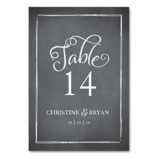 Chalkboard Script White Table Card