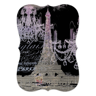 chalkboard scripts chandelier paris eiffel tower card