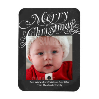 Chalkboard Scroll Font Merry Christmas Template Flexible Magnets