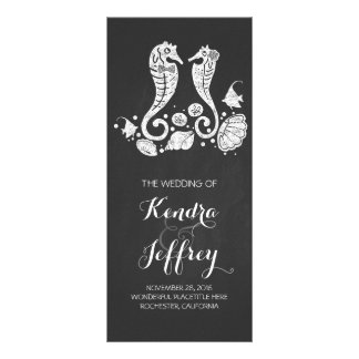 Chalkboard Seahorses Beach Wedding Programs Rack Cards