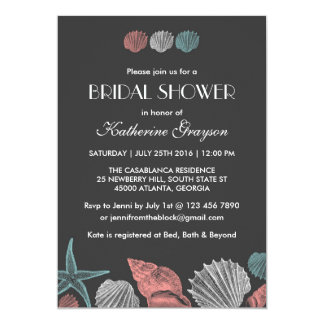 Chalkboard Seashells Invitation for Beach Wedding
