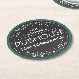 Chalkboard Sign Personalized Couple Pubhouse Round Paper Coaster