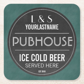 Chalkboard Sign Personalized Couple Pubhouse Square Paper Coaster