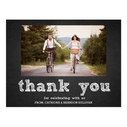 Chalkboard Sketch Typography Thank You Postcard