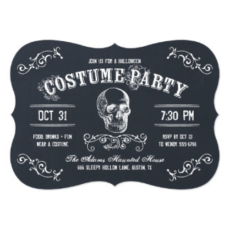 "Chalkboard Skull Halloween Costume Party 5"" X 7"" Invitation Card"