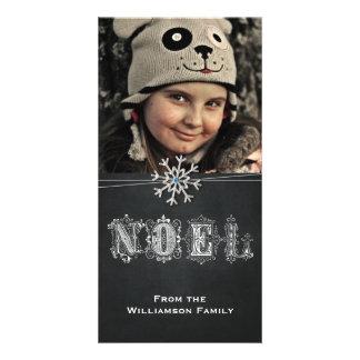 Chalkboard Snowflake Noel Christmas Card Photo Card Template