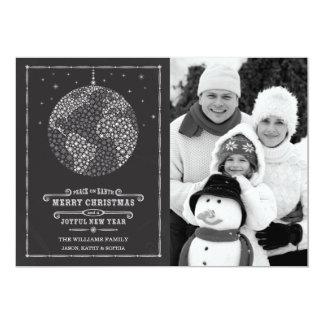 "Chalkboard Snowflake Peace on Earth Photo Card 5"" X 7"" Invitation Card"