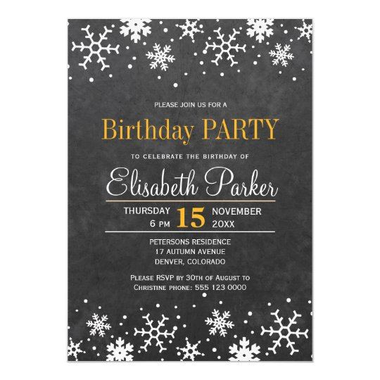 Chalkboard snowflakes rustic birthday party card