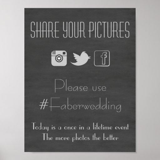 Chalkboard Social Media Wedding Photo Hashtag Sign Print
