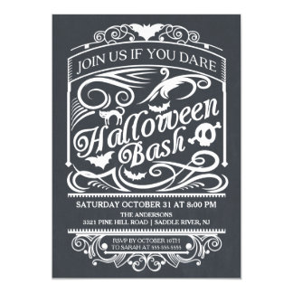Chalkboard Spooky Gothic Halloween Invitation