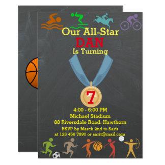 Chalkboard Sports Birthday Invitation
