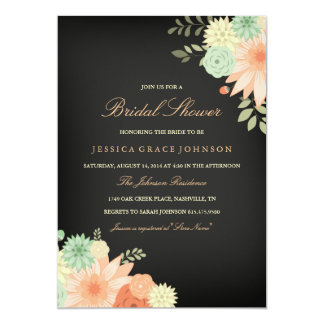Chalkboard Spring Foliage Bridal Shower Invitation
