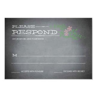 """Chalkboard Stencil Pink Response 3.5"""" X 5"""" Invitation Card"""