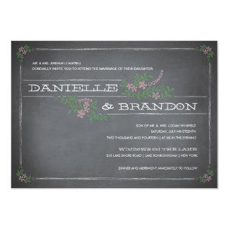 """Chalkboard Stencil Pink Wedding Invitation 5"""" X 7"""" Invitation Card"""