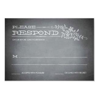 """Chalkboard Stencil White Response 3.5"""" X 5"""" Invitation Card"""