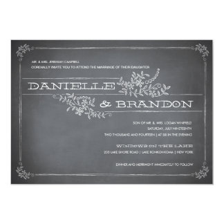 Chalkboard Stencil White Wedding Invitation