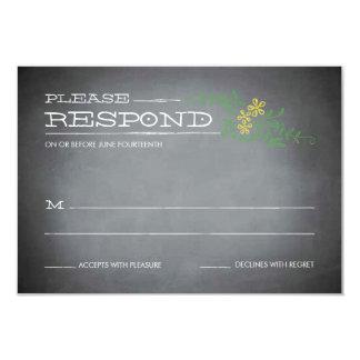 "Chalkboard Stencil Yellow Response 3.5"" X 5"" Invitation Card"