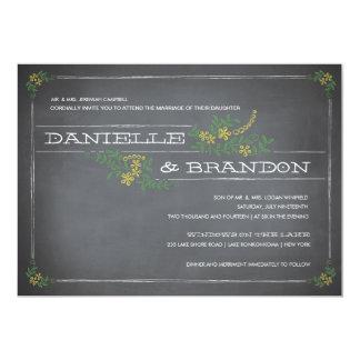 "Chalkboard Stencil Yellow Wedding Invitation 5"" X 7"" Invitation Card"