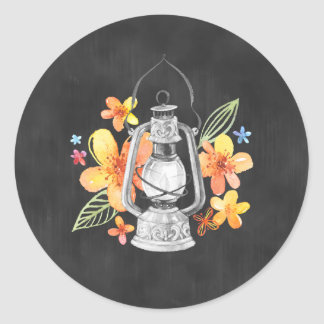 Chalkboard Sticker with Yellow Flowers and Lantern