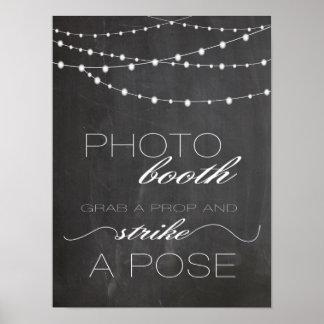 Chalkboard string lighs Photo booth wedding sign