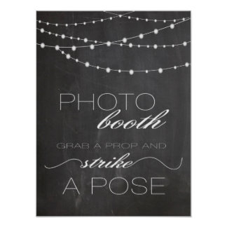 Chalkboard string lighs Photo booth wedding sign Poster