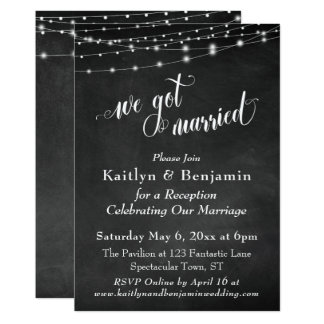 Chalkboard String Lights Wedding Reception Only Card