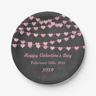 Chalkboard String Love Heart Happy Valentine's Day 7 Inch Paper Plate