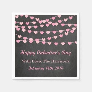 Chalkboard String Love Heart Happy Valentine's Day Disposable Napkin