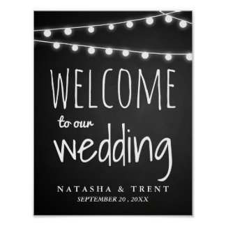 Chalkboard String Of Lights Welcome Wedding Sign Poster
