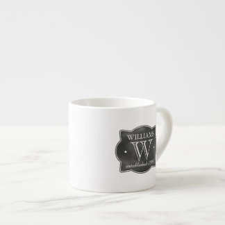 Chalkboard Style Family Name and Monogram Espresso Cup
