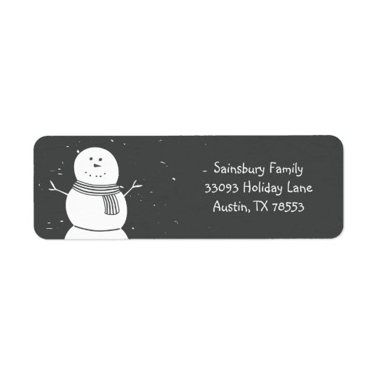 Chalkboard Style Snowman Christmas Card Return Address Label