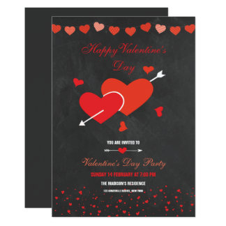 Chalkboard Style Valentines Party Flyer Card