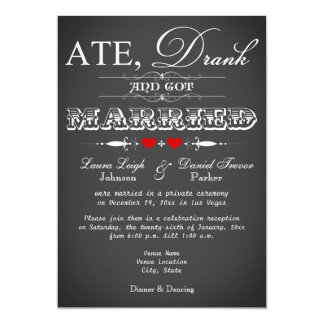 "Chalkboard Style Wedding Reception Only Invite 5"" X 7"" Invitation Card"