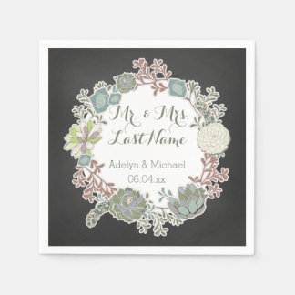 Chalkboard Succulent Wreath Wedding Paper Napkins Disposable Serviette