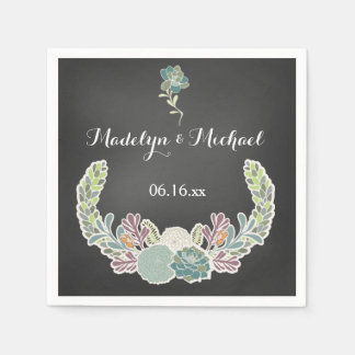 Chalkboard Succulents Wedding Paper Napkins
