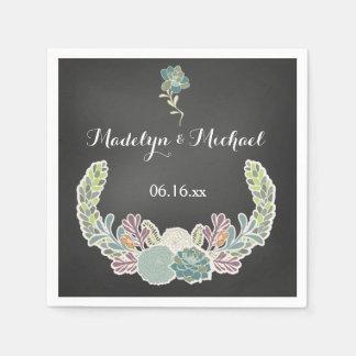 Chalkboard Succulents Wedding Paper Napkins Paper Napkin