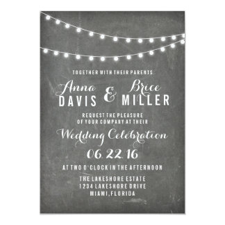 Chalkboard Summer String Light Wedding Invites