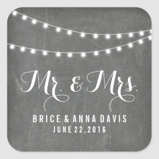 Chalkboard Summer String Light Wedding Stickers