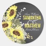 Chalkboard Sunflower Rustic Wedding Gift Label Round Sticker
