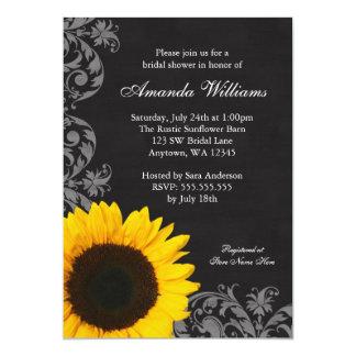 Chalkboard Sunflower Swirls Bridal Shower 13 Cm X 18 Cm Invitation Card