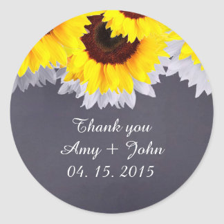 Chalkboard sunflower wedding tags sunflwr2 round sticker
