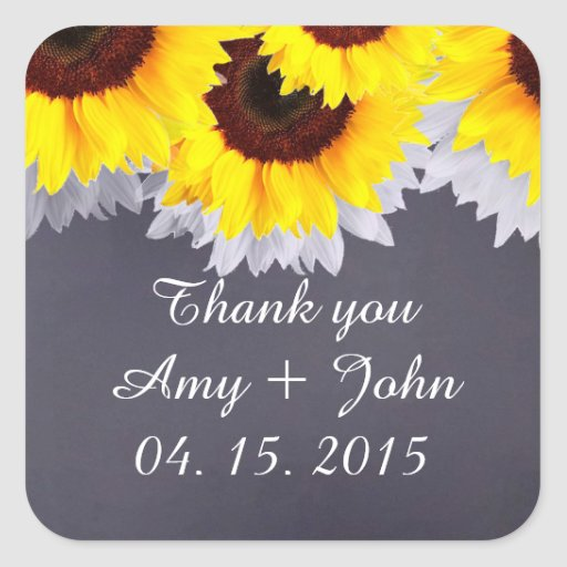 Chalkboard sunflower wedding tags sunflwr2 sticker