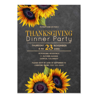 Chalkboard sunflowers rustic thanksgiving party card