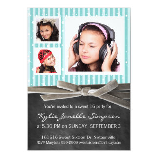 Chalkboard Sweet 16 with 3 Photos Card