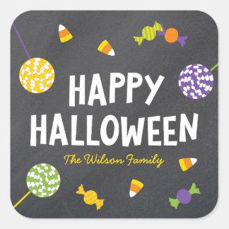 Chalkboard Sweet Candy Treats Happy Halloween Square Sticker