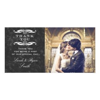 Chalkboard & Swirl Wedding Photo Thank You Cards Custom Photo Card