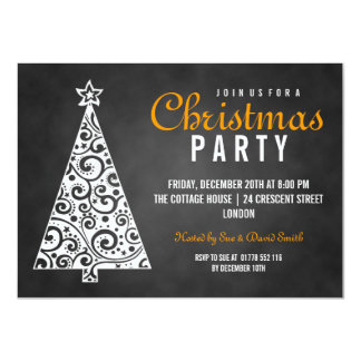 Chalkboard Swirly Christmas Tree Black Orange Card