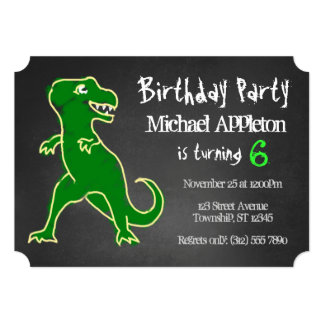 Chalkboard T-Rex Dinosaur Birthday Invitations