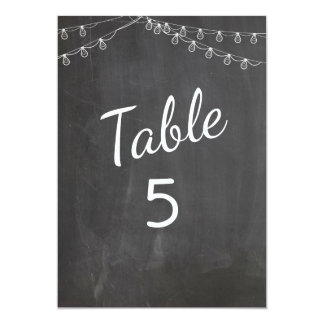 Chalkboard Table Numbers with Lights Card